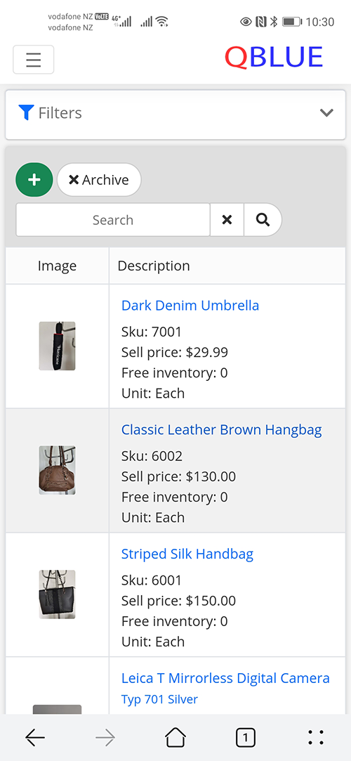Qblue Inventory products on mobile